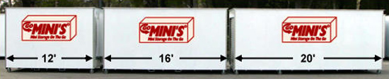 Go Mini's Storage Container Sizes